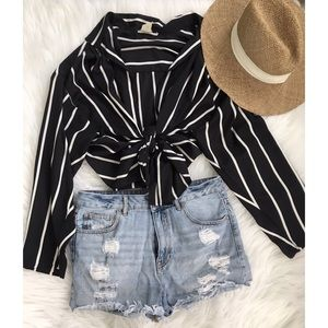 Striped Tie Up Blouse